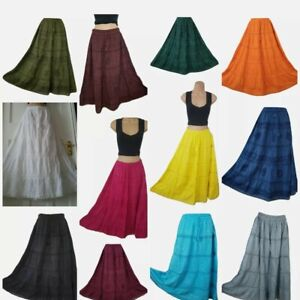 Cotton Summer Skirt Maxi Embroidered Lace Boho Casual One size 10 12 14 16 18 20