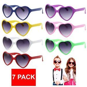 7 Pack Cute Kids Sunglasses Heart Shaped Classic Lot Lolita Girls Childrens New