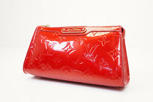 Auth Pre-owned Louis Vuitton Vernis Red Trousse Cosmetic Mm Pouch M91433 210323