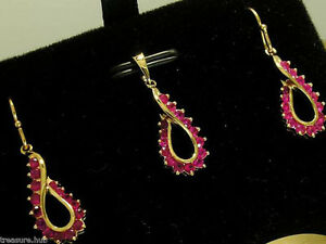 E046 Genuine 9K Solid Yellow Gold NATURAL RUBY Swirl Drop Earrings & Pendant set