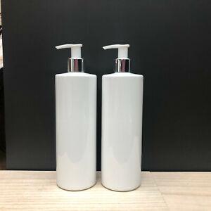 2 x  Reuse Dispenser Pump Bottle Plastic Mrs Hinch Personalise White PET