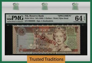 TT PK 101s1 1998 FIJI 5 DOLLARS QUEEN ELIZABETH SPECIMEN PMG 64 EPQ CHOICE UNC!