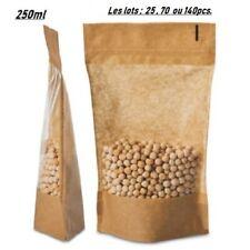 25 à 120pcs Sachet alimentaire Kraft Stand Up tenant debout ,250ml ,fenêtre, Zip