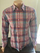 J CREW genuine indian madras men's shirt, size SMALL, plaid checks Multicolor