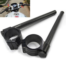 "Gloss Carbon Fiber 7/8"" Motorcycle Handle Bar Grip Post Universal w/ 35mm Clamp"