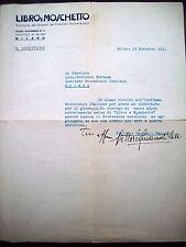 1939 LETTERA DI VITTORIO EMANUELE FABBRI GIORNALE 'LIBRO E MOSCHETTO' FASCISMO