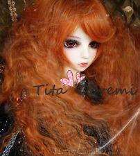 1/3 8-9 Dal Pullip BJD SD DZ DOD LUTS dollfie Doll long orange wavy /wig hair HT