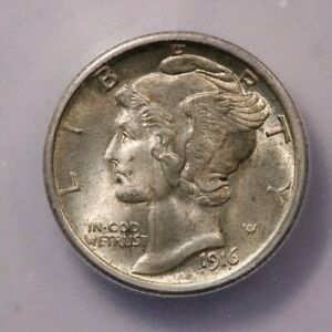 1916-P 1916 Mercury Dime ICG MS64 FB Mercury