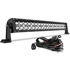 LED Light Bar 24 Inch Straight AUTO Work 4D 200W 8ft Wiring Harness, 20000LM Fog