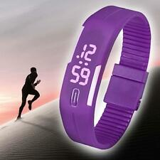 Mens Womens Watches LED Watch Date Sports Bracelet Digital Wrist Watch Purple GJ