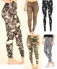 Womens Ladies Cross Animal Leopard Print Full Length Stretched Legging UK 8-26