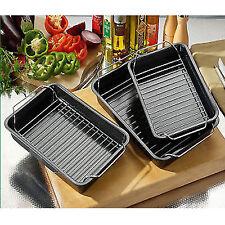 Set of 3 Roasting Baking Tin Trays & Racks Cooking Oven Dish Bakeware Non Stick