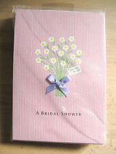 NEW Hallmark A Bridal Shower Flowers Blue Ribbon 8 Invitations & Envelopes