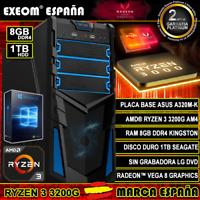Ordenador Gaming Pc AMD Ryzen 3 3200G AM4 8GB DDR4 1TB de Sobremesa Windows 10