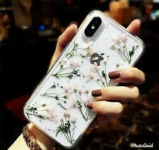 Sparkly Pressed Dried Natural Real Flower Handmade Clear Case For iPhone Samsung