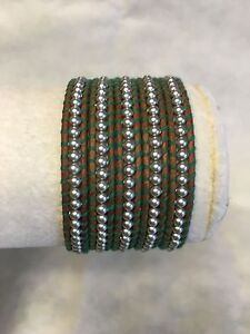 New Auth Chan Luu Gray Pearl Wrap Bracelet on Natural Brown Leather Green Thread