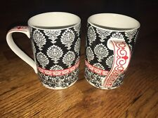 Cynthia Rowley Set Of 2 Red & Black Print Mugs