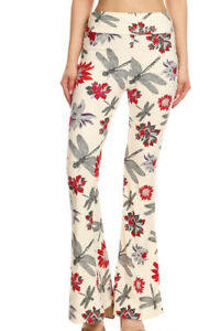 Women's Funky Flare Leg Pants Print Stretchy Knit High Waist Casual Lounge Yoga