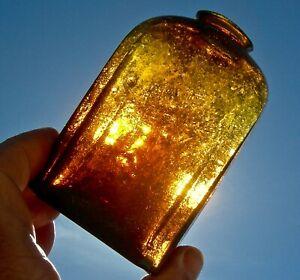 1850-60s CRUDE BUBBLY FUNKY AMBER SNUFF JAR BOTTLE WEEKS STODDARD NH GLASSWORKS