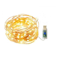 Stringa luci di Natale microled bianco caldo con presa usb 8 giochi impermeabile