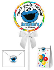 40 COOKIE MONSTER BIRTHDAY PARTY LOLLIPOP STICKERS ~ goody bags, seals, etc