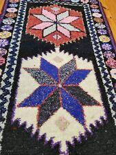 "Bohemian Vintage 1950-1960s Wool Pile Kurdish Runner Rug 2'8""×12'"