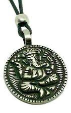 Ganesh Ganesha Hindu Elephant God Pendant Pewter Beaded Cord Necklace Jewellery