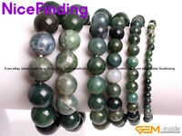 Moss Agate Beaded Elastic Energy Bracelet Fashion Women Jewelry Mothers Day Gift
