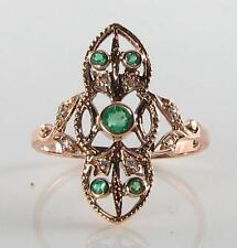 Lovely 9K 9CT ROSE ORO LUNGA Colombiano Smeraldo & Diamante Anello Art Deco INS