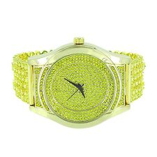 Men Hip Hop Iced Out Yellow Gold Techno Pave Bling Lab Diamond Rapper Watch