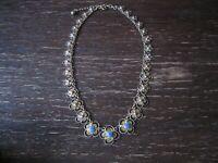 exquisites Jugendstil Collier Kette Filigranarbeit Emaille 835er Silber gold