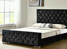 Crushed velvet upholstered Chesterfield Bed frame 3FT 4FT 4FT6 5FT CHEAP