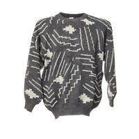 Strickpullover Größe M Retro Muster Rundhals Vintage Sweater Langarm Rundhals
