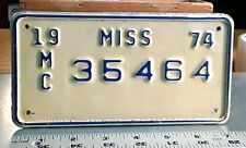 MISSISSIPPI - 1974 private MOTORCYCLE license plate - very nice original, tough
