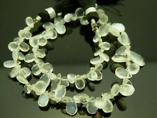 "Natural White Labradorite Faceted Briolette Teardrop Gemstone Beads 8.5"" Std"