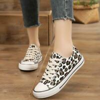 Women Leopard Canvas Flat Heel Fashion Sneakers Casual Shoes Lace Up Skateboards