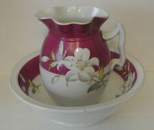 Antique Royal Stone China Maddock & Co White Lily Wash Bowl & Pitcher Set Pink