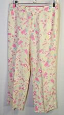SIGRID OLSEN Floral Crop Pants 100% Linen Womens 6 Lt Yellow Pink Capris Summer