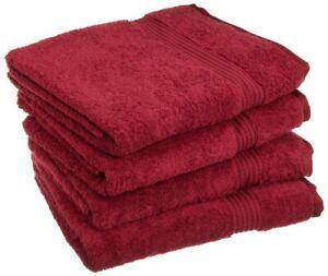 4-pc Burgundy Superior 600 GSM Long Staple Combed Cotton Bath Towel Set