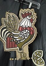 Rooster Wall Hanging Fabric Glitter Design on Burlap Material Farmhouse Country