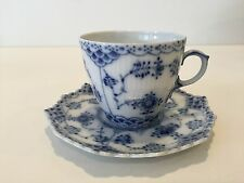 "Royal Copenhagen Blue Fluted Full Lace Denmark Cup & Saucer Set, 2 1/4"" Tall-Cup"