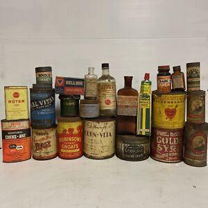 Set Of 20 X Vintage Australian Tins & Bottles Harpers Cadbury Salvital Cenovis