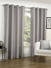 """FAUX SILK SILVER 65"""" x 72"""" EYELET HEADER READY MADE FULLY LINED CURTAINS LUXURY"""