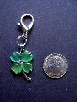 New Pretty Cat Eye Green Shamrock Clover Charm Zipper Pull Clip On Traditional