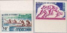Ivory Coast Costa d'Avorio 1968 331-32 U 270-71 Olympics Mexico canoe RACE MNH