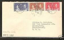 ANTIGUA # 81-83 KING GEORGE VI ROYAL CORONATION FIRST DAY COVER 1937