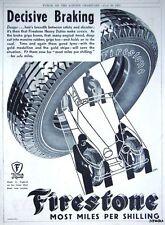 Original 1931 'FIRESTONE' Art Deco Car Tyre Advert - Vintage Auto Tire Print AD