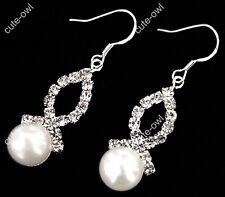 Pair 9-10mm White Akoya Cultured Pearl Crystal Dangle Earring