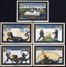 """GELDERN 1921 """"Knights vs. Dragon"""" HAND-SIGNED complete series German Notgeld"""