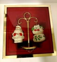 Vintage Lenox Holiday Santa And Toys Salt And Pepper Shakers With Stand NIB